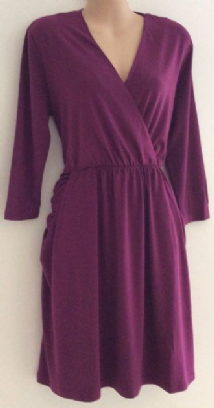 JENNIFER HUDSON DARK MAGENTA JERSEY WRAP DRESS NEW 6-16